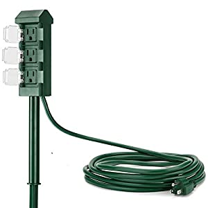 BESTTEN 3-Outlet Outdoor Power Stake with 12-Foot Long Extension Cord, Weatherproof Yard Power Strip with Outlet Covers…