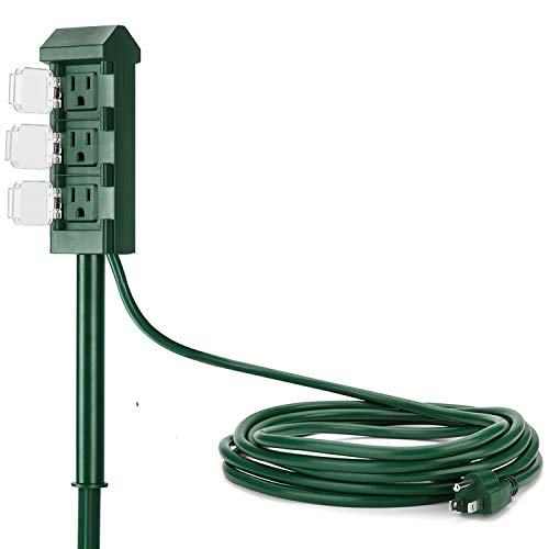 3 Outlet Yard Stake - BESTTEN Weatherproof Outdoor Power Strip with 12 Foot Long Extension Cord, 3-Outlet Yard Stake with Outlet Cover, ETL Certified, Green