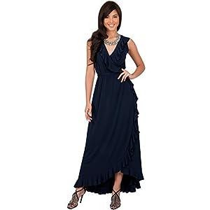 c14f3473e84 KOH KOH Womens Long Summer Sleeveless Wrap Evening Bridesmaid Sexy Wedding  Party Guest Elegant Sun Beach Robe Flowy Sundress Gown Gowns Maxi Midi  Dress ...