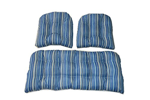 3 Piece Wicker Cushion Set - Indoor / Outdoor Sapphire Blue, Tan Stripe Wicker Loveseat Settee & 2 Matching Chair Cushions by Resort Spa Home Decor
