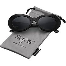 SojoS Oval Mod Style Thick Frame Sunglasses Retro Kurt Cobain Inspired SJ2039