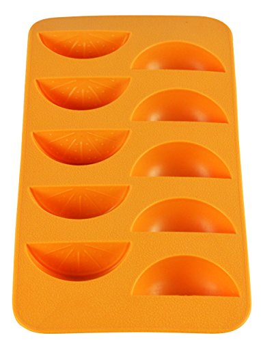 Fairly Odd Novelties FON-10172 Slice Shape Flexible 10 Ice Cube Tray Mold Orange Silicone Novelty Gag Gift, One Size, ()