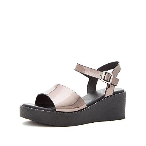 da donna 35 Pantofole Tacchi Sandali Sandali DHG a piatti estivi con moda alti alla basso basso Grigio Sandali casual tacco tacco w1SEnInqt