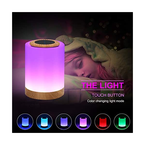 Touch Lamp Bluetooth Speaker,Portable LED Touch Sensor Table Lamp Dimmable Multi-Color Changing Night Light, MP3 Player, Handsfree Calls Bluetooth Speaker Support TF Carte Rechargeable 2