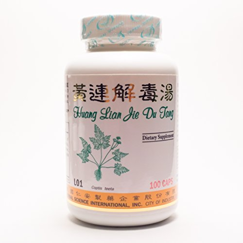 Huang Lian Detox Formula Dietary Supplement 500mg 100 capsules (Huang Lian Jie Du Tang) L01 100% Natural Herbs