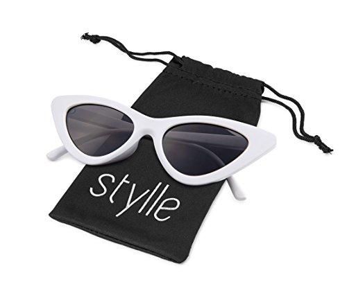 Retro Vintage cat eye Men Women Sunglasses White Frame, Black Lens, Pouch Included