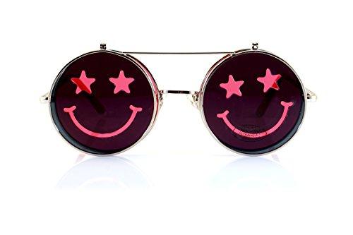 FBL Smile Flip-Up Clamshell Deep Color Round Sunglasses A114 - Red John Elton Glasses