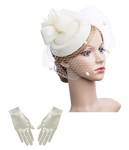 (Cizoe Fascinator Hair Clip Pillbox Hat Bowler Feather Flower Veil Wedding Party Hat Tea Hat(1-beige)