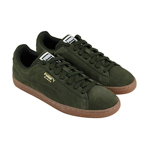 PUMA Men's Suede Classic Sneaker, Forest Night Team Gold, 9.