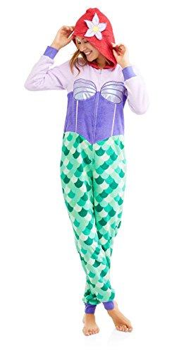 L Ariel Hooded Pajama Union Suit Adult One Piece Disney The Little Mermaid