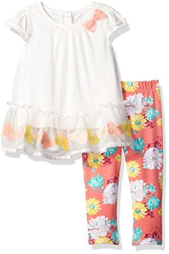 irls' Embroidery Border Legging Set, White / Multi, 24M (Border Embroidery)