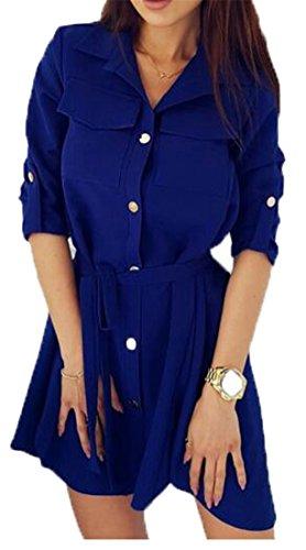 Cromoncent Des Femmes De Bouton Ceinturée Doux Décontracté Blouse Bas Plissé Haut Chemises Bleu Mini-robe