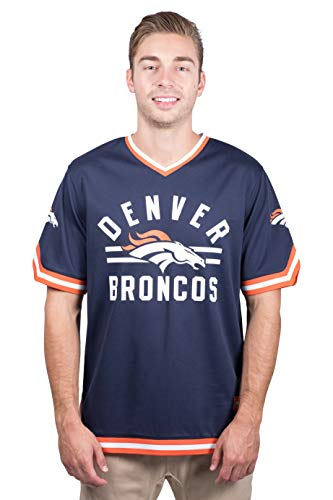 NFL Denver Broncos Men's Jersey T-Shirt V-Neck Mesh Stripe Tee Shirt, Large, Navy