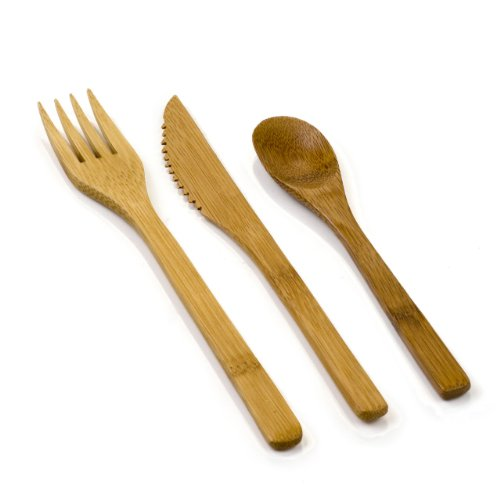 8-inch Bamboo Cutlery Set - Eco-Friendly Bamboo Fork, Spoon and Knife Flatware Set: Perfect for Restaurants, Catering Events, and Food Trucks – Disposable and Compostable – 100-CT - Restaurantware
