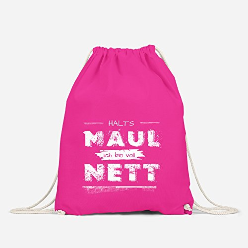 Turnbeutel mit Spruch Halt`s Maul ich bin voll nett Beutel Tasche Hipster lustig Baumwolle Autiga® pink