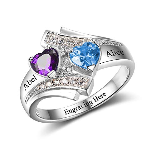 MadisonAva Mothers Rings with 2 Simulated Birthstones Personalized Name Rings for Women Promise Rings for Her (#4, 6)