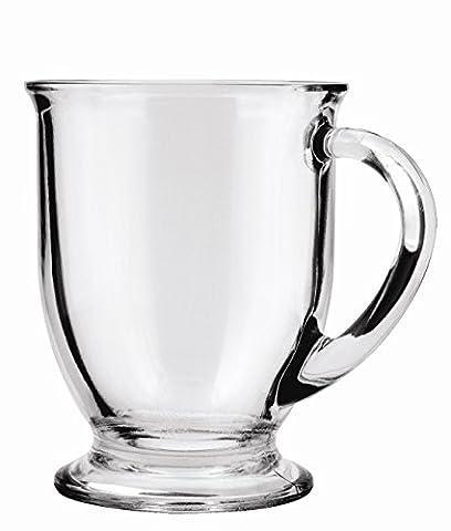 Anchor Hocking Café Glass Coffee Mugs, 16 oz (Set of 4) - 8 Ounce Cafe Mug