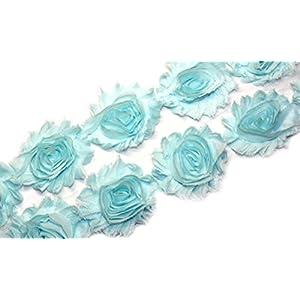 3 Yards/42 Flowers 2.5 Inch Shabby Rose Trim Flowers Chiffon Rosettes 15