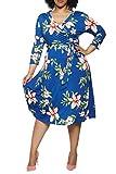 Pink Queen Women's Plus Size 3/4 Sleeve Beach Floral Date Night Playwear Dresses 2XL Blue