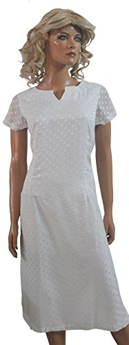 Apparelsonline white Chiffon Ladies Kurti Top Chest size 38 Free Dupatta (38)