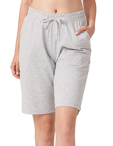 Home Bermuda - ChinFun Women's Bermuda Shorts Athletic Active Yoga Lounge Quick Dry Activewear Workout Soft Knit French Terry Sweat Running Shorts with Deep Pockets Light Heather Grey Size L