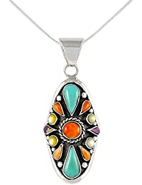 Turquoise Necklace 925 Sterling Silver Pendant & 18