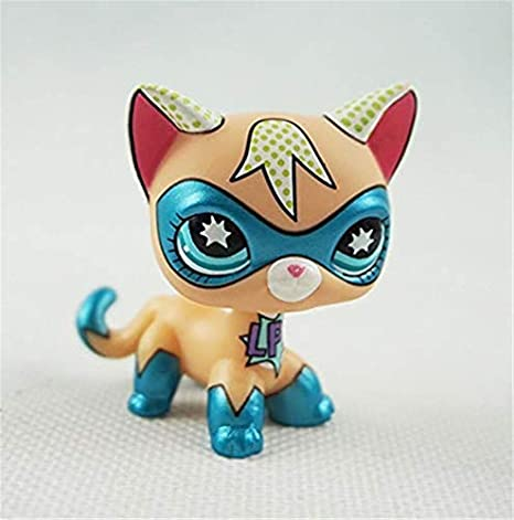 Pet Shop Juguetes LPS Raras de pie Forma máscara de Gato de Pelo Corto (Elegir su Gato) para niños Regalo 1pc, COMICCONSuperCAT