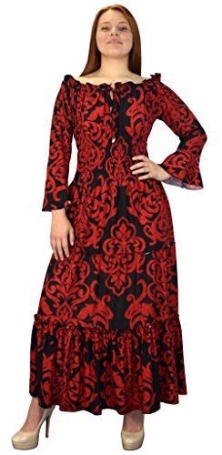 Peach Couture Gypsy Boho 3/4 Sleeves Smocked Waist Tiered Renaissance Maxi Dress Red Black, -