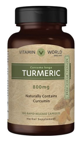 Vitamin World Turmeric 800 mg Herbal supplement Naturaly Contains Curcumin 100 rapid release capsules