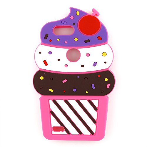 ZTE Blade Z Max Case, ZTE Sequoia Case,3D Cute Cartoon Cherry Cupcakes Ice  Cream Shaped Soft Rubber Silicone Case Back Cover for ZTE Blade ZMax Pro 2