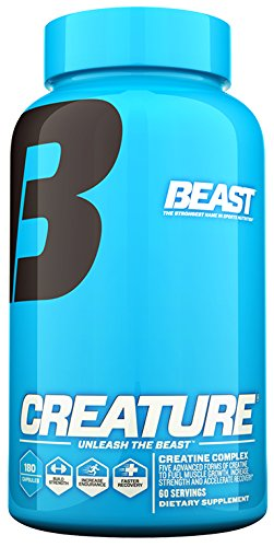 Beast Sports Nutrition  Creature Creatine Complex  Fuel Muscle Growth  Optimize Muscle Strength  Enhance Endurance  Boost Recovery  5 Forms of Creatine Monohydrate  60 Servings  180 Capsules