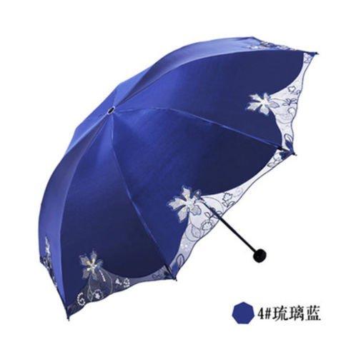 Blue Summer Uvioresistant Umbrella Embroiderwomens Parasol Folding Sun Umbrella Lace by Umbrella Compact