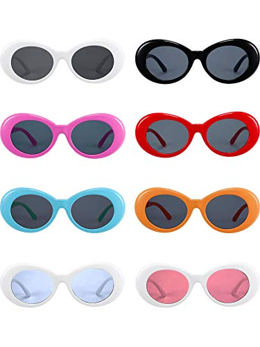 5a3195275db Gejoy 8 Pairs Clout Oval Goggles Retro Kurt Mod Thick Frame Round Lens Sunglasses  Goggles Multicolor