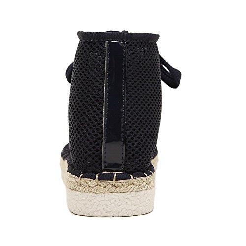 Amoonyfashion Dames Vierkante Gesloten Neus Geen Hak Mesh Legging Stevige Laarzen Met Zwarte Visser
