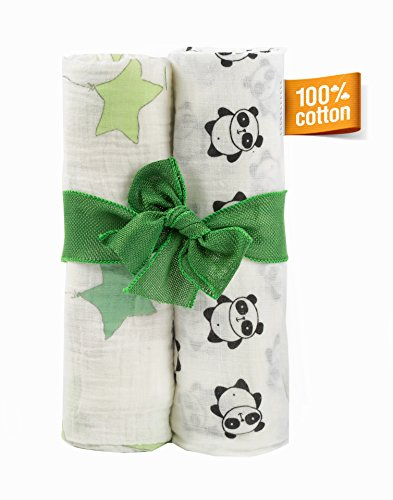 Set of Two Ultra Soft Muslin Baby Swaddle Cotton Blankets for Boys and Girls| Extra Large 47X47 inches| Multipurpose use| Black-White and Green Receiving blankets