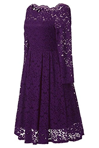 Adodress Homecoming Neck Boat 2 Long Women's Swing lace1 Purple Sleeve Dresses Cocktail Formal Elegant PqrUP