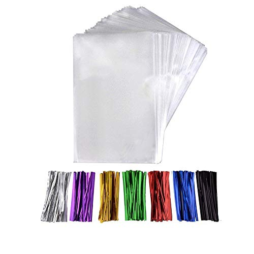 200 Pcs 6 in x 4 in(1.4mil.) Clear Flat Cello Cellophane Treat Bags Good for Bakery, Cookies, Candies,Dessert with five random color Twist - Clear Flat 4 Mil