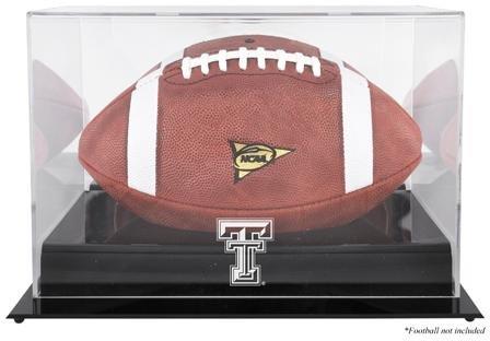 Raiders Logo Display Case - Texas Tech Red Raiders Black Base Team Logo Football Display Case