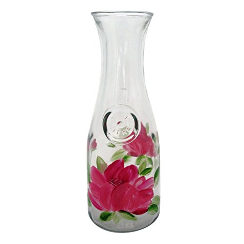Hand Painted Carafe (Golden Hill Studio Wine Carafes Hand Painted in the USA by American Artists-Peony Floral Collection)