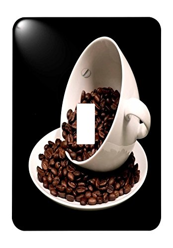 (3dRose (lsp_213571_1) Photograph of a Coffee Cup Full of Coffee Beans Spilling Over Single Toggle Switch)