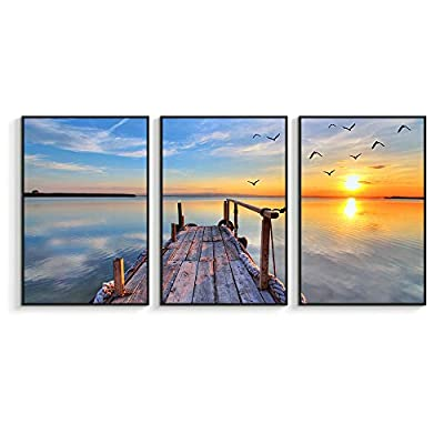 Framed for Living Room Bedroom Beautiful Sunset for x3 Panels, Quality Creation, Majestic Piece of Art