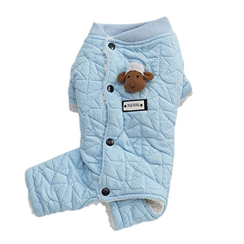 Adarl Winter Warm Pet Jumpsuit Coat Colothes Soft Cotton Hoodies Sheep Costumes Apparel for Puppy Dog Cat Blue/XL]()