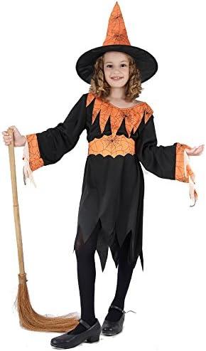 Disfraz naranja de bruja para niña, ideal para Halloween: Amazon ...