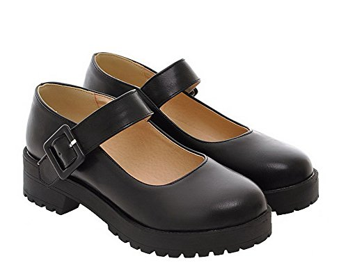 VogueZone009 Women's Solid Soft Material Buckle Round Closed Toe Pumps-Shoes Black Z5RnIUiVKT