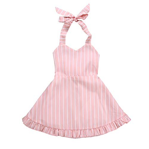 Hat Halter - ❤Ywoow❤ for 1-6 Years Old Girls Dresses,Girls Stripe Halter Dress Princess Kids Sling Sleeveless Party Pageant Tutu Dress Summer (Pink, 18-24 Months)