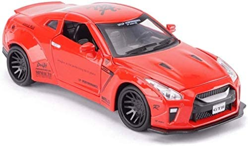 Model Car 1/32 Ares Wide Body Modified Version of The Original Metal Sports Car Alloy Car Model Gift Boys Nissan R35 Modified Version - Orange/Gold/Blue (Color : Red) Holiday