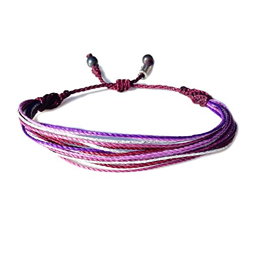 Multistrand String Beach Bracelet with Hematite Stones in Eggplant, Purple, Orchid, Lavender and Metallic Silver for Men and Women: His and Her Love Rope Bracelet for Couples by Rumi ()