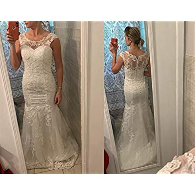 Wedding Dress for Bride Lace Bridal Dress Mermaid Bride Dresses with Long Train at Women's Clothing store