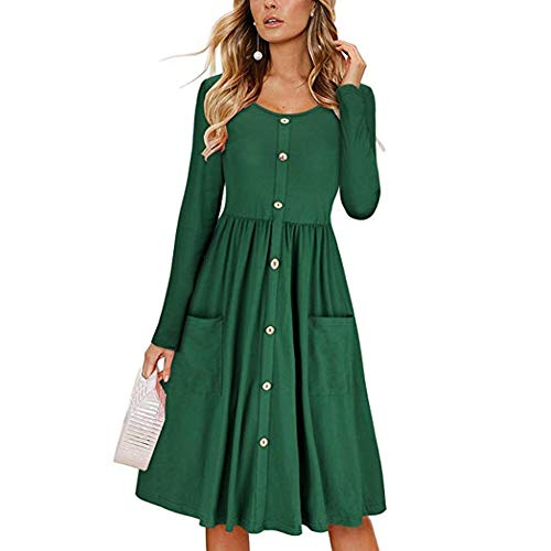 Petite Silk Cocktail Dress - ZOLLOR Women's Upgrade Casual Openable Chest V Neck Short Sleeve Button Down Summer Beach Midi Dress with Pockets(S,Dark Green4)