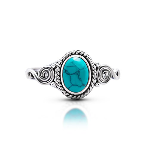 Koral Jewelry Synthetic Turquoise Spiral Sides Ring 925 Sterling Silver Vintage Tribal Gipsy Boho US Size 5 6 7 8 9 (7)
